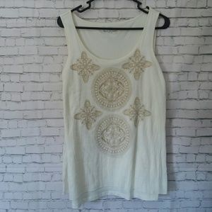 *NWT!* CHARTER CLUB cream + tank embroidered tank